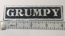 "Custom  Biker Vest Patch ""GRUMPY""  4""X 1""  (WHITE ON BLACK)"