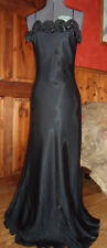 Gothic black satin full length ball gown with satin roses on bodice. Size 8 /10