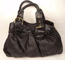 HAMPTON LEATHER GOODS BLACK LEATHER BAG HANDBAG DOUBLE STRAP SNAKE PRINT