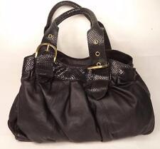 HAMPTON LEATHER GOODS BLACK LEATHER BAG HANDBAG DOUBLE STRAP SNAKE PRINT