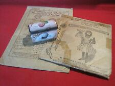 Vintage porcelain sewing chest needle case trinket box w/ antique sewing pattern