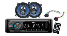 Pyle PLR44MU In Dash Car Receiver Stereo Package - 2 Speakers, Harness, Remote,