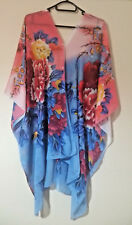 WOMEN'S MULTI-COLOUR CHIFFON BEACH COVER UP TOP KAFTAN ONE SIZE FLORAL PATTERN
