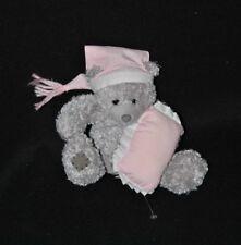 Peluche doudou ours L. DAKE en Zn gris coussin bonnet rose 13 cm assis NEUF