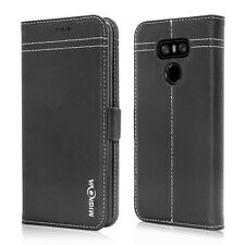 Genuine Leather Wallet Card Holder Case Cover Stand for LG G6 Smart Phone
