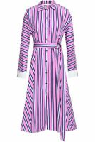 MAJE Pink belted striped cotton-poplin midi shirt dress RRP £290 Size 1