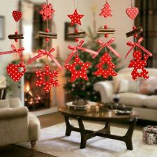 Christmas Tree Ornaments Snowflake Heart Star  s Red Santa Color Decoration 5PC