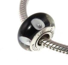 Premium SINGLE CORE argento Sterling Charm Murano, nero con macchie bianche RRP £ 15