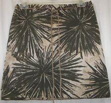 Ideology Woman's Ladies Skirt Tan & Green Size 4 Grommet Loops Suede Belt EUC