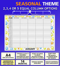 A4 Personalised Family Organiser Calendar Choose 2 3 4 5 Columns 2018 2019 2020