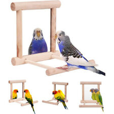 Bird Swing Parrot Cage Toys Hanging Play With Mirror For Small Parakeets