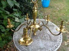 More details for antique gilt brass mythical rams head five branch chandelier  ceiling light