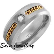 US$99 14K Gold Plated Men TITANIUM Zircon Wedding Engagement Ring Imported USA