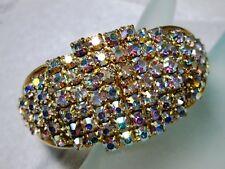 Dazzling ~Vintage Hand Set Aurora Borealis Rhinestone CLAMPER BRACELET