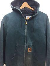 Vtg CARHARTT USA Jacket Hooded Green Duck Mens L WORN Chore Work Coat J06HTG