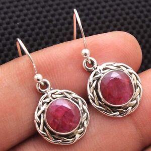 Round kashmir ruby Gemstone 925 sterling Silver Jewelry Handmade Earring