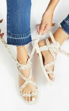 Free People Geo Plains Sandal Strappy Sz 10 White $158
