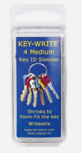 Key-Write Plastic Assorted MEDIUM KEY SLEEVES 4pk Shrinks To Form-Fit 040101 NEW