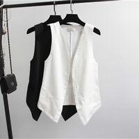 Womens Casual Cotton Linen Vest Waistcoat Sleeveless Jackets Coats Comfort M-3XL