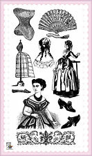 Lady in corset ~ clear stamps set vintage FLONZ 235 rubber acrylic