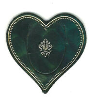 Small Green Italian Leather Bookmark Florence Heart Lily Heraldic Gift Him Man