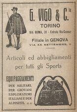 W9100 G. VIGO & C. Torino - Abbigliamento per Sports - Pubblicità del 1917 - Ad