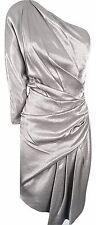 Karen Millen Limited Edition Dress Draped Pewter One Shoulder UK Size 10 12 10