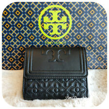 NWT TORY BURCH QUILTED LEATHER BRYANT FOLDABLE MINI WALLET IN BLACK/001