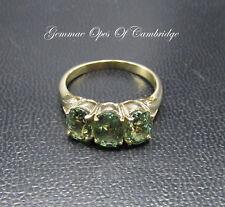 9ct Gold Topaz Three Stone Ring Size O 1/2 3.4g
