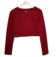 The Vintage Shop Womens Crop Top Long Sleeves Dark Red Small USA Made