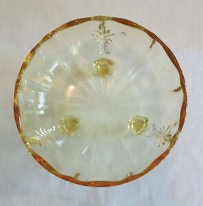 Fostoria Topaz Baroque Master Cupped Nut Bowl 3 Toe Footed