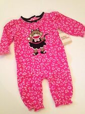 Baby Starters Sock Monkey Girl Coverall Pajamas Size 3 6 9 12 Months Cheetah Cat