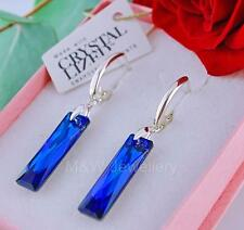 925 Silver Earrings 25mm QUEEN BAGUETTE Bermuda Blue Crystals From Swarovski®