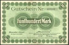 Germany , 500 Mark , 20.9.1922 , Phoenix note , w/ big stamp on the back