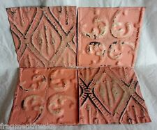 """4 6"""" x 6"""" Antique Tin Ceiling Tiles* SEE OUR SALVAGE VIDEOS* Dd2 Peach Pink Chic"""