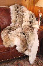 "Plush Coyote Fur Blanket 50"" x 72"" Real Coyote Fur Throw by TrueNorthFurs.com"