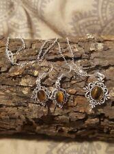 Silver Plated Tigers Eye Necklace, Earrings & Bracelet Set