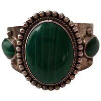 Vintage Malachite Sterling Silver Cuff Bracelet