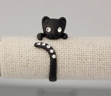 Retro Handmade Adjustable Kitty Cat Animal Gunmetal Black Ring Womens Girls