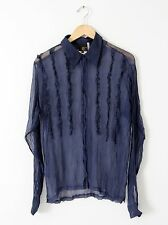 Just Cavalli silk button down blouse, sheer ruffle top size L menswear top