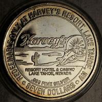 1993 -CT HARVEY'S LAKE TAHOE $7 SILVER STRIKE WAGON WHEEL (RAISED LETTERS RARE!)