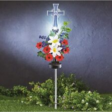 Solar Powered Patriotic Floral Memorial Remembrance Cross Cemetery Garden Stake