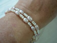 DAINTY PINK & WHITE FRESH WATER PEARL DOUBLE STRAND BRACELET ~ SO PRETTY!