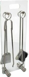Valiant Premium 4-Piece Glass Fireside Salisbury Companion Set - FIR514
