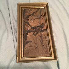 Antique 19th C. Portrait of a Bird in a Tree Oil on Canvas Painting