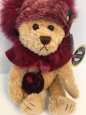 "Brass Button Bear Ruby Bear Happiness Jointed Plush Burgundy 13"" needs repair"