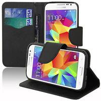 Housse Etui Portefeuille PU Effet Tissu Gel NOIR Samsung Galaxy Core Prime G360F