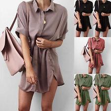Mode Damen Freizeit kurzärmlig revers Lang Bluse Oberteile Damen Hemd Blusen