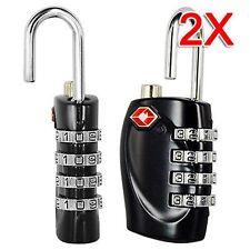 2 Pcs 4-Dial TSA Combination Travel Padlock Resettable Lock Luggage Suitcase UK