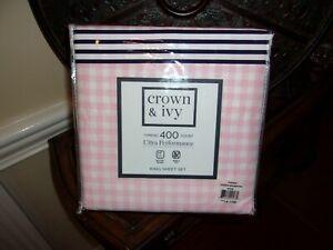 NIP Crown & Ivy Gingham Meadow Pink 400TC Performance King Sheet Set 4pc